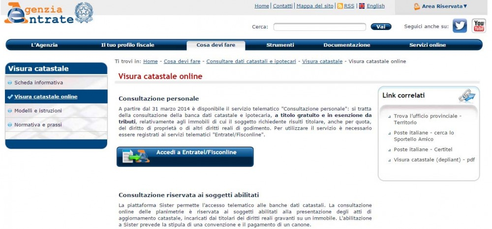 Visura catastale dati immobile rendita catastale documento for Visura catastale